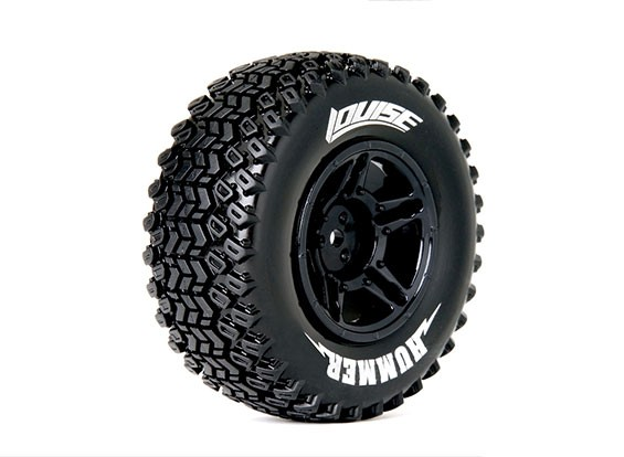 LOUISE SC-HUMMER 1/10 Scale Truck Tires 4X4 Soft Compound / Black Rim / Mounted