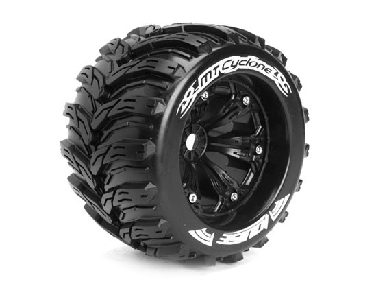"""LOUISE MT-CYCLOON 1/8 Scale Traxxas Style Bead 3.8 """"Monster Truck SPORT Compound / zwarte rand"""
