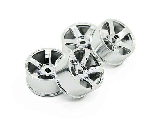 5 Spoke Chrome Rim Set (F / R) - Turnigy TZ4 AWD / Drift Spec