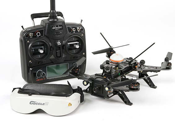 Walkera Runner 250 RTF FPV Racing Quadcopter w / Modus 2 Devo 7 / batterij / Goggles / Camera / VTX / OSD