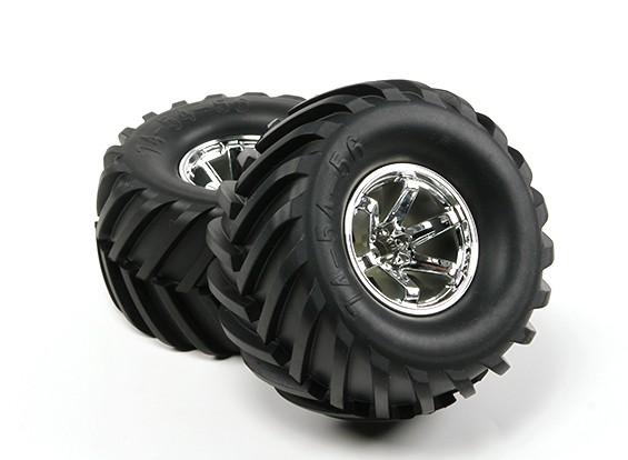 HobbyKing ® ™ 10/01 Crawler & Monster Truck 135mm Wheel & Tire (Silver Rim) (2 stuks)