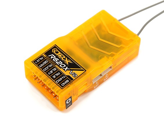 OrangeRx R620X V2 6Ch 2.4GHz DSM2 / DSMX Comp Full Range Rx w / Zat Div Ant, F / Safe & SBUS