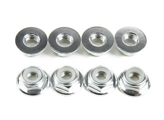 Aluminium Flens Low Profile Nyloc Moer M5 zilver (CW) 8 stuks