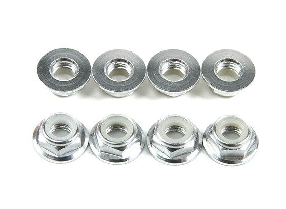 Aluminium Flens Low Profile Nyloc Moer M5 zilver (CCW) 8 stuks