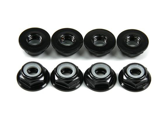 Aluminium Flens Low Profile Nyloc Moer M5 Black (CW) 8 stuks