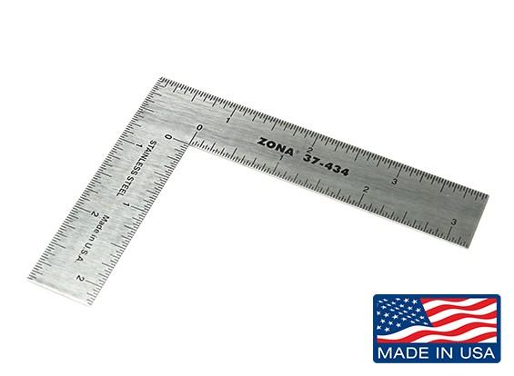 "Zona Precision 3 ""x 4"" Stainless Steel L-plein Ruler"