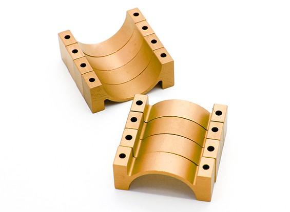 Goud geanodiseerd CNC Halve cirkel Alloy Tube Clamp (incl.screws) 22mm