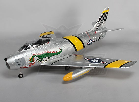 F-86 De Huff EOF Jet 70mm Electric Zet vrij, kleppen, Airbrake, EPO (PNF)
