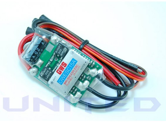 GWS Brushless ESC 15A 2-4S 2A BEC