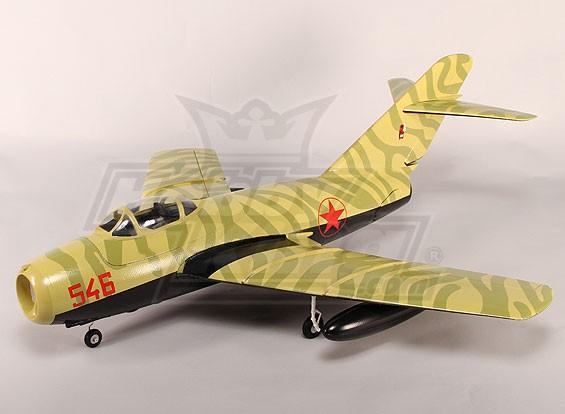 Mig-15 EDF Jet 70mm Electric Zet vrij, kleppen, Airbrake, EPO Camo (PNF)