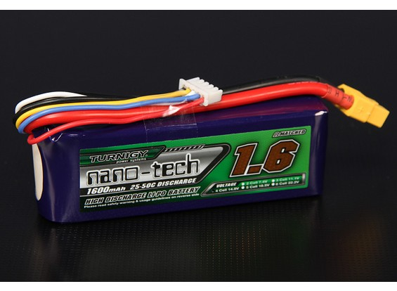 Turnigy nano-tech 1600mAh 4S 25 Pack Lipo ~ 50C