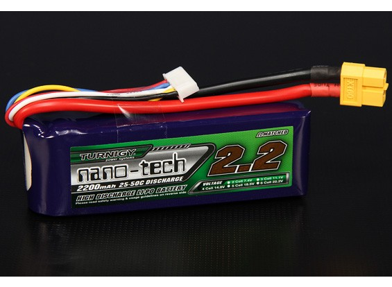 Turnigy nano-tech 2200mAh 4S 25 Pack Lipo ~ 50C