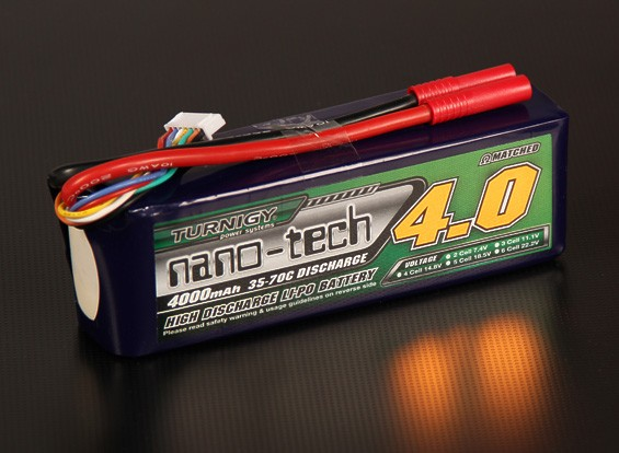 Turnigy nano-tech 4000mAh 6S 35 Pack Lipo ~ 70C