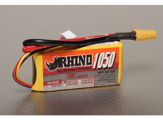 Rhino 1050mAh 3S 11.1v 20C LiPoly Pack
