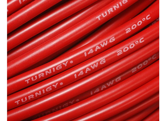 Turnigy Pure-Silicone Draad 14AWG 1m (Rood)