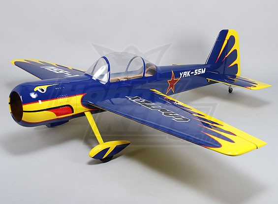 (Afgerond) Hobbyking Yak 55 Gas 30cc 1826mm (ARF) (blauw / geel)