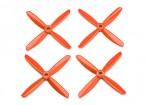 Dalprop Q4045 Bull Nose 4 Blade Propellers CW/CCW Set Orange (2 pairs)