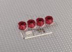 Red Aluminium Wiel Adapters met Lock Schroeven - 7mm (12mm Hex)
