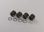 Titanium kleur aluminium 1/8 Wiel Adapters met Wheel Stopper Nuts (17mm Hex - 4pc)