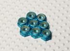 Blauw geanodiseerd aluminium M4 Nylock Nuts (8 stuks)