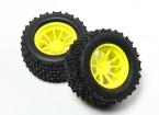 HobbyKing® 1/10 Monster Truck 10-Spoke Fluorescent Yellow Wheel & I-Pattern Tire 12mm Hex (2pc)
