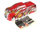 HobbyKing ™ 1/10 Scale Pre-Painted Monster Truck Bodyshell-Rood met Flame Graphics