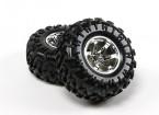 HobbyKing ® ™ 10/01 Crawler 130mm Wheel & Tire (Silver Rim) (2 stuks)