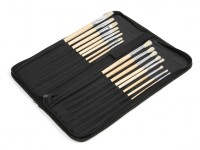 16pcs Natural Bristle Paint Brush Set with Nylon Carry Case