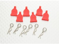10/01 Car Body Clip Met Rubber Tab (rood) 6pc