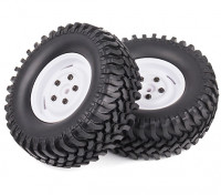 1/10 Scale Rock Crawler Wheels With Soft Compound Off-road Tyres (White Rims) (2pc)