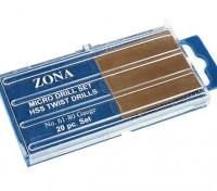Zona 20pc High Speed Twist Drill Set (# 61- # 80)