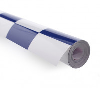 Covering Film Grote Patroon Grill-Work Blauw / Wit (5mtr)