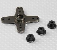 Aluminium Cross Universal Servo Arm - JR, Futaba & HITEC (Gunmetal)