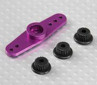 Universal Aluminum Twee-weg Servo Arm - JR, Futaba & HITEC (Purple)