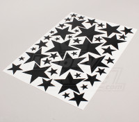 Star Zwart / Wit Diverse Maten Decal Sheet 425mmx300mm