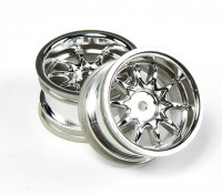 Ride 1/10 Mini 10 Spoke Wheel 4mm Offset - zilver (2 stuks)