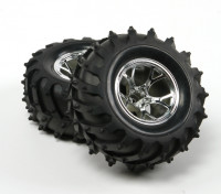 HobbyKing ® ™ 10/01 Crawler & Monster Truck 125mm Wheel & Tire (Silver Rim) (2 stuks)
