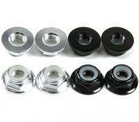 Aluminium Flens Low Profile Nyloc Moer M5 (4 Black CW & 4 Silver CCW)