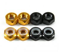 Aluminium Low Profile Nyloc Moer M5 (4 Black CW & 4 Gold CCW)