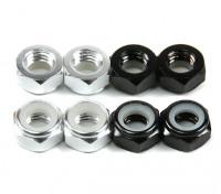 Aluminium Low Profile Nyloc Moer M5 (4 Black CW & 4 Silver CCW)