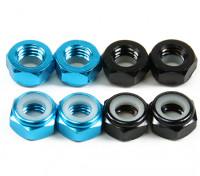 Aluminium Low Profile Nyloc Moer M5 (4 Black CW & 4 Light Blue CCW)