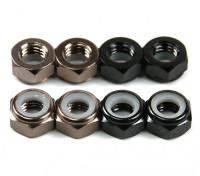 Aluminium Low Profile Nyloc Moer M5 (4 Black CW & 4 Titanium CCW)