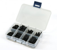 M3 Nylon Spacer moer Diverse Kit w / Box (Black) (180pcs)