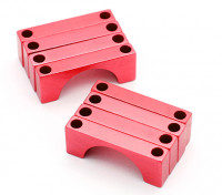 Red geanodiseerd CNC Halve cirkel Alloy Tube Clamp (incl.screws) 28mm