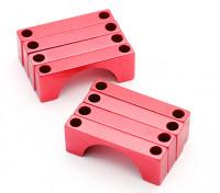 Red geanodiseerd CNC Halve cirkel Alloy Tube Clamp (incl.screws) 30mm