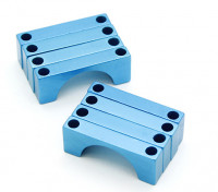 Blauw geanodiseerd CNC Halve cirkel Alloy Tube Clamp (incl.screws) 22mm