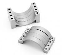 Zilver geanodiseerd CNC halve cirkel legering buis klem (incl.screws) 22mm