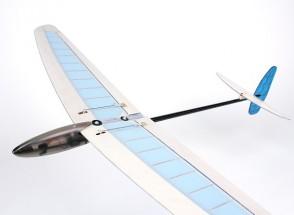 HobbyKing ™ Mini DLG Pro w / Ailerons Balsa - Blauw / Wit 990mm (PNF)