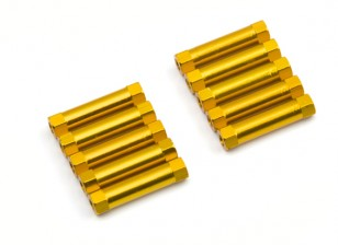 Lichtgewicht Aluminium Ronde Sectie Spacer M3x22mm (Goud) (10st)
