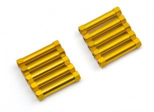 Lichtgewicht Aluminium Ronde Sectie Spacer M3x25mm (Goud) (10st)